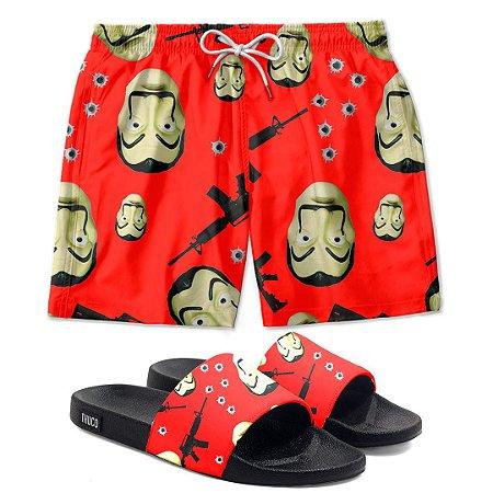Kit Shorts E Chinelo Slide La Casa De Papel