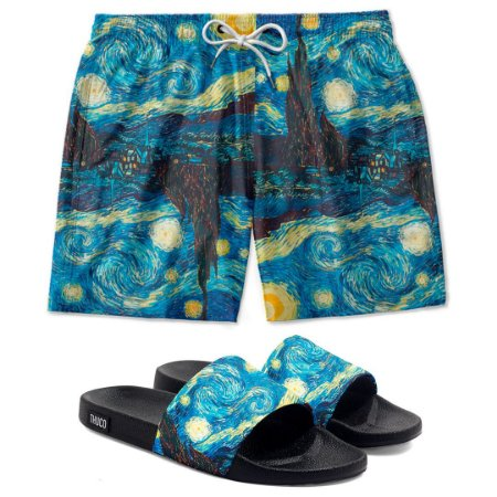Kit Short E Chinelo Slide Van Gogh