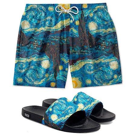 Kit Shorts E Chinelo Slide Van Gogh