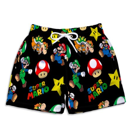 Short Praia Infantil UseThuco Super Mario