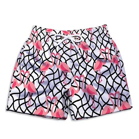 Short Praia Infantil UseThuco Estampado Flamingo