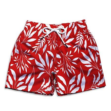 Short Praia Infantil UseThuco Folhagem Branco com Vermelho