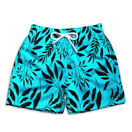 Short Praia Infantil UseThuco Folhagem Azul com Preto