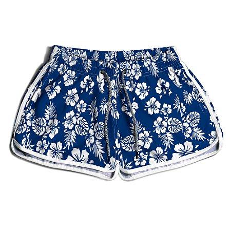 Short Praia Feminino UseThuco Floral Azul e Branco