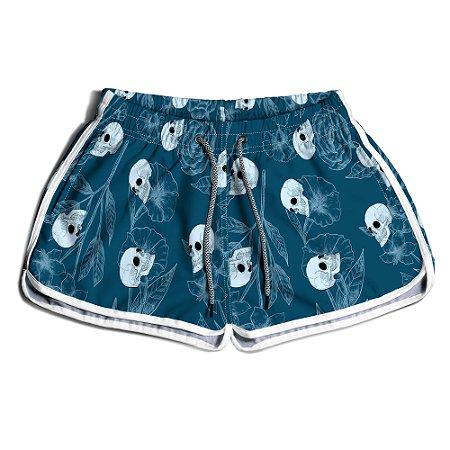 Short Praia Feminino UseThuco Blue And Skulls