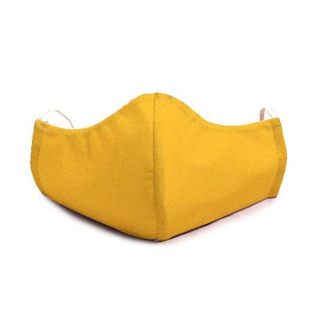 Mascara Proteção Em Tecido Lavável Unissex Amarela