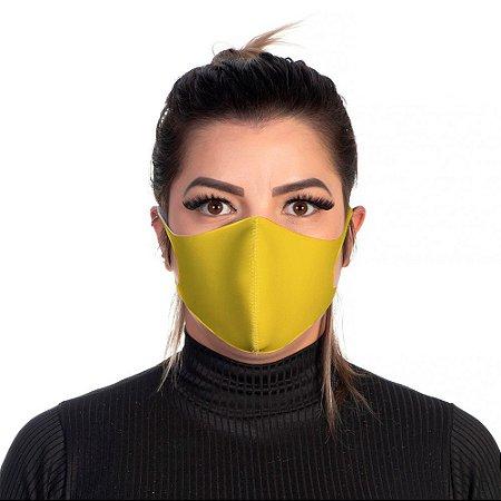 Mascara Proteção Feminina Em Tecido Lavável Neoprene Cor Amarela Use Thuco