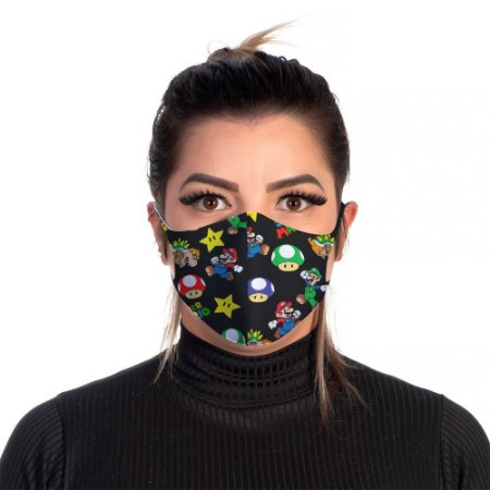 Mascara Proteção Feminina Em Tecido Lavável Neoprene Cor Mario Bros Use Thuco