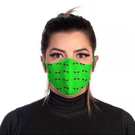 Mascara Proteção Feminina Em Tecido Lavável Neoprene Aliens Green Use Thuco
