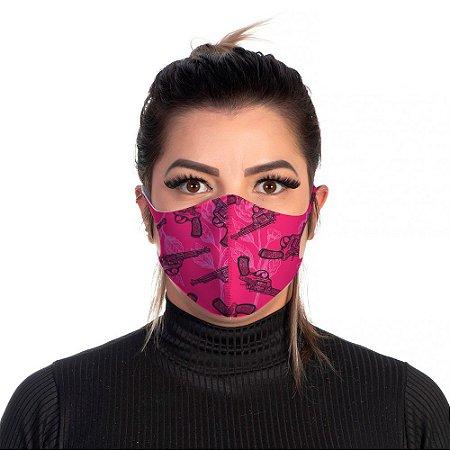 Mascara Proteção Feminina Em Tecido Lavável Neoprene Guns Pink Use Thuco