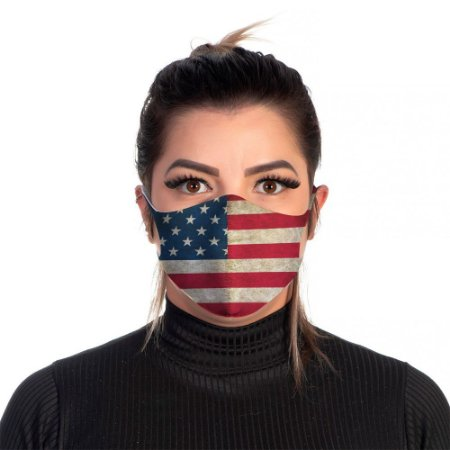 Mascara Proteção Feminina Em Tecido Lavável Neoprene Bandeira EUA Use Thuco