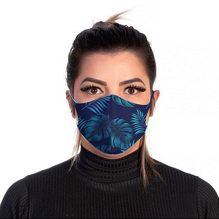 Mascara Proteção Feminina Em Tecido Lavável Neoprene Floral Azul Use Thuco