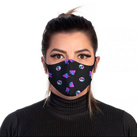 Mascara Proteção Feminina Em Tecido Lavável Neoprene Aliens Preto Use Thuco