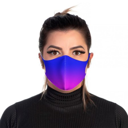 Mascara Proteção Feminina Em Tecido Lavável Neoprene Degrade Azul Use Thuco