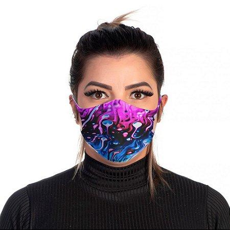 Mascara Proteção Feminina Em Tecido Lavável Neoprene Azul e Rosa