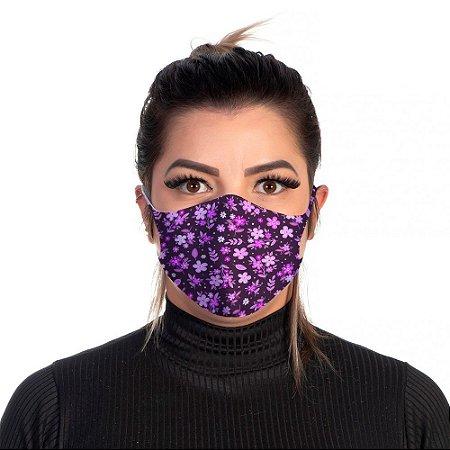 Mascara Proteção Feminina Em Tecido Lavável Neoprene Floral Lilas