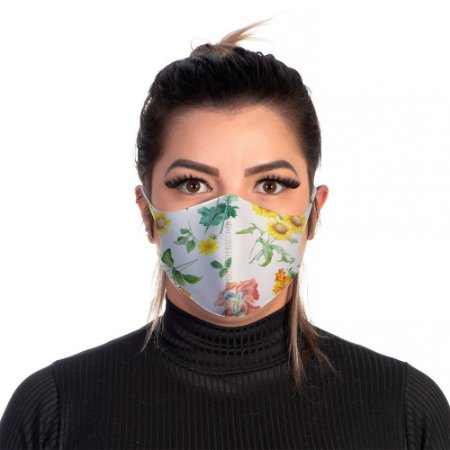 Mascara Proteção Feminina Em Tecido Lavável Neoprene Floral Nude