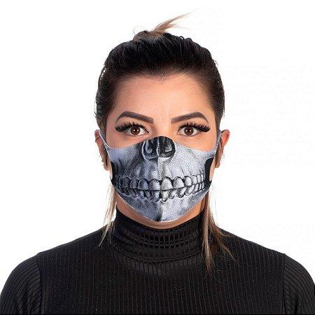 Mascara Proteção Feminina Em Tecido Lavável Neoprene Skull Face Use Thuco