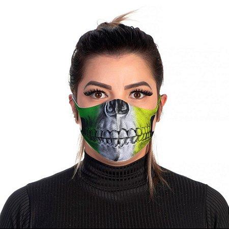 Mascara Proteção Feminina Em Tecido Lavável Neoprene Skull Brasil Use Thuco
