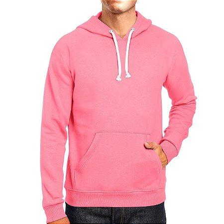 Moletom Masculino Capuz Bolso Canguro Básico Rosa