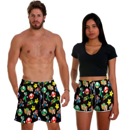Kit Casal Short Praia Use Thuco Super Mario Brós Preto