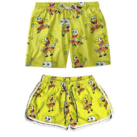Kit Shorts Casal Masculino e Feminino Bob Esponja Use Thuco