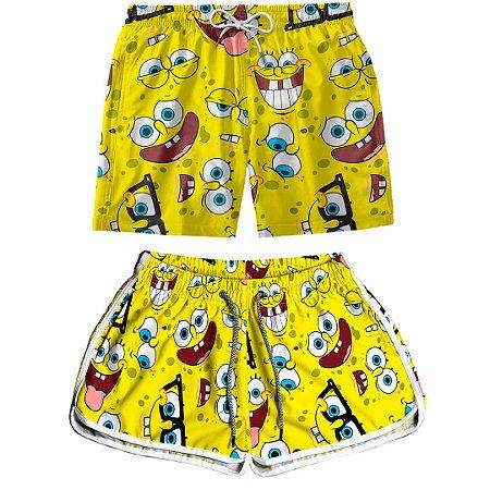 Kit Casal Dois Shorts de Praia Masculino e Feminino Bob Esponja Amarelo Use Thuco