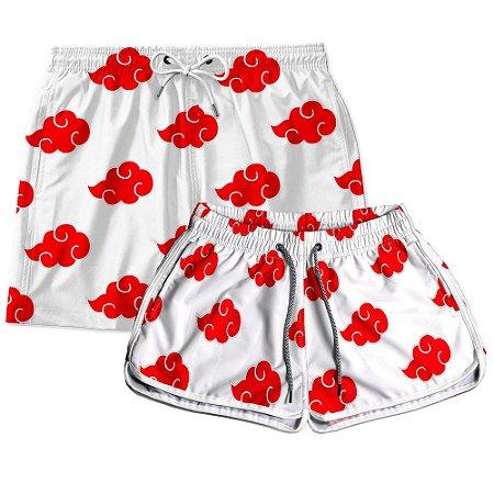 Kit Shorts Casal Masculino e Feminino Akatsuk Branco Use Thuco