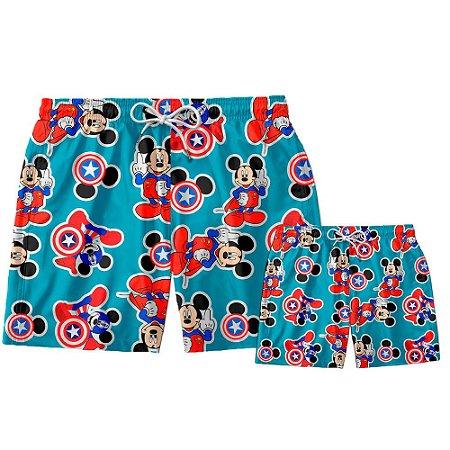 Kit Shorts Pai e Filho Mickey Capitão Use Thuco