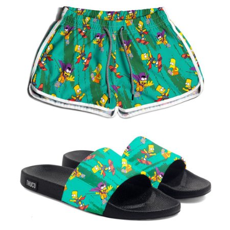 Kit Short e Chinelo Feminino Bart Simpsons Use Thuco