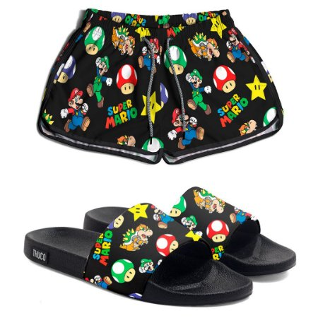 Kit Short Praia e Chinelo Slide Feminino Use Thuco Mario Bros