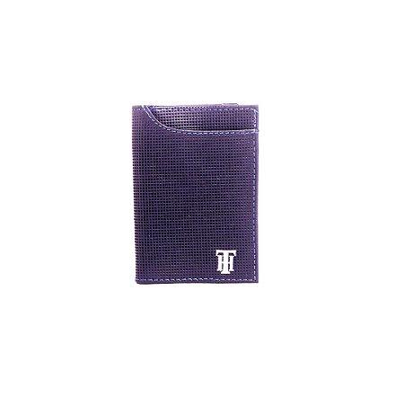 Carteira Em Couro Azul Com Textura