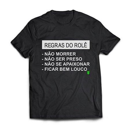 Camiseta Masculina Personalizada Regras do Rolê Use Thuco