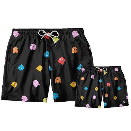 Kit Shorts Pai e Filho Pac_Man Use Thuco.