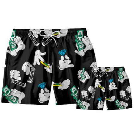 Kit Shorts Pai e Filho Mão Mickey Use Thuco.