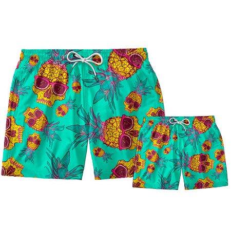 Kit Shorts Pai e Filho Caveira Use Thuco.