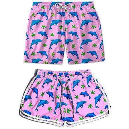Kit Shorts Casal Masculino e Feminino Golfinhos Felizes Thuco