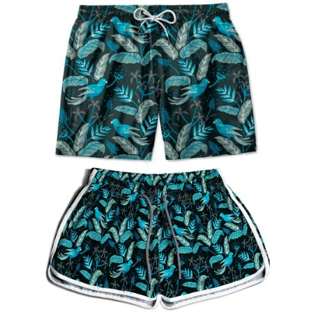 Kit Shorts Casal Masculino e Feminino Floral Thuco