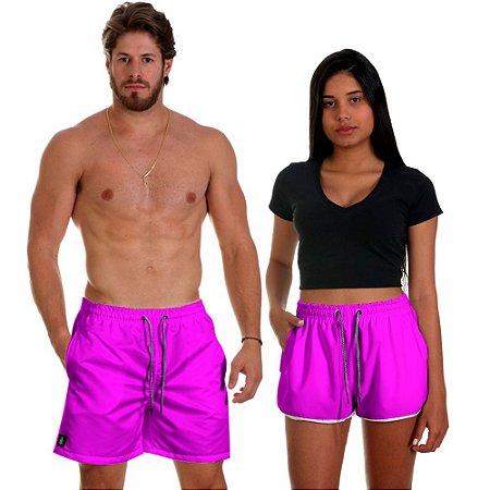 Kit Casal Dois Shorts de Praia Masculino e Feminino Rosa Use Thuco