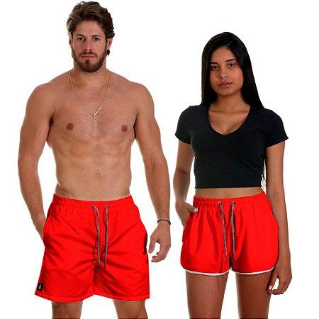 Kit Casal Dois Shorts de Praia Masculino e Feminino Vermelho Use Thuco