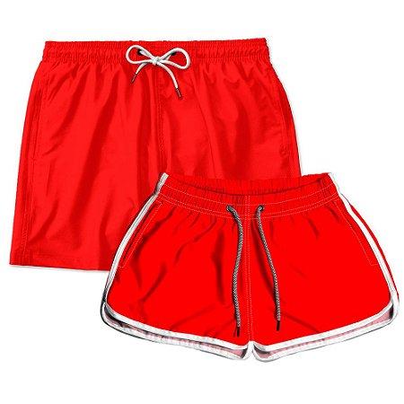 Kit Shorts Casal Masculino e Feminino Vermelho Use Thuco