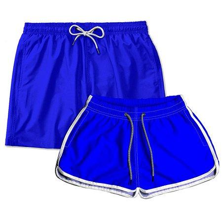Kit Shorts Casal Masculino e Feminino Azul Use Thuco