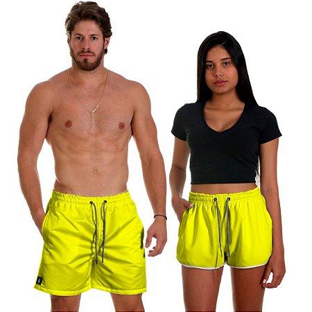 Kit Casal Dois Shorts de Praia Masculino e Feminino Amarelo Use Thuco