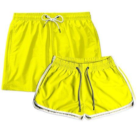 Kit Shorts Casal Masculino e Feminino Amarelo Use Thuco