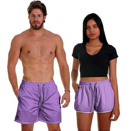Kit Casal Dois Shorts de Praia Masculino e Feminino Lilás Use Thuco