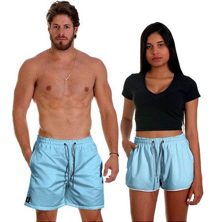 Kit Casal Dois Shorts de Praia Masculino e Feminino Azul Bebê Use Thuco