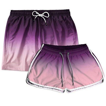 Kit Shorts Casal Masculino e Feminino Roxo Degrade Use Thuco