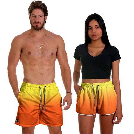 Kit Casal Dois Shorts de Praia Masculino e Feminino Flames Use Thuco