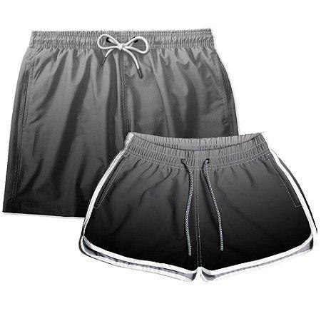 Kit Shorts Casal Masculino e Feminino Preto Degrade Use Thuco