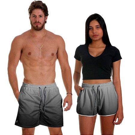 Kit Casal Dois Shorts de Praia Masculino e Feminino Preto Degrade Use Thuco